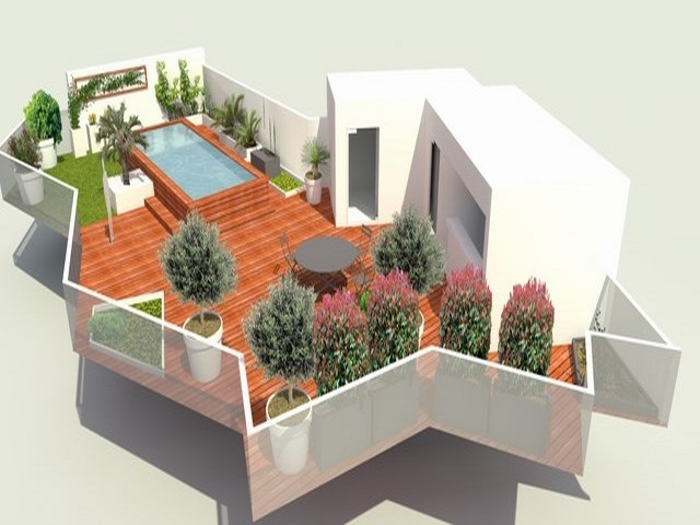 Plan amenagement terrasse paysagiste montpellier orphis deco for Amenagement jardin 41