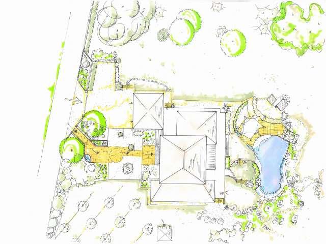 Plans main paysagiste montpellier herault gard paysagiste for Plan amenagement jardin rectangulaire