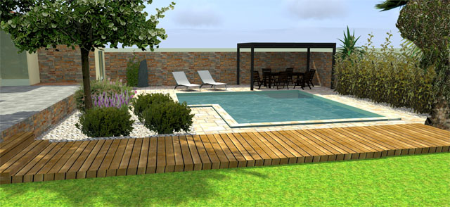 Projet d am nagement ext rieur jardin avec piscine by for Amenagement terrasse avec piscine