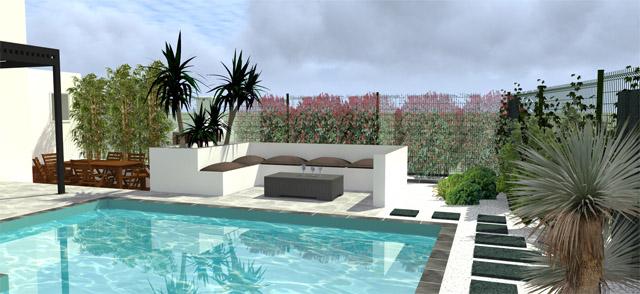 Projet d'aménagement extérieur jardin avec piscine by Orphis