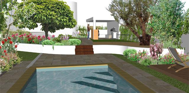 Projet d\'aménagement extérieur jardin avec piscine by Orphis Montpellier
